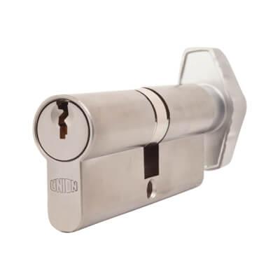 UNION® J2X28 Cylinder - Euro Double & Thumbturn - 37[k]* + 37mm - Satin Chrome