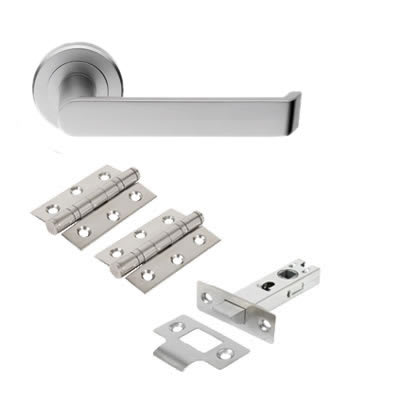 Concept Lever Door Handle on Rose - Door Kit - Satin Chrome