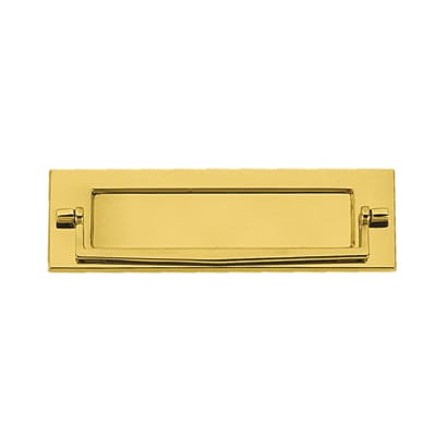 Victorian Plain Edge Postal Knocker - 254 x 78mm - Polished Brass