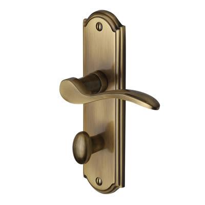 M Marcus Howard Door Handle - Bathroom Set - Antique Brass