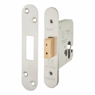 A-Spec Architectural Euro Profile Deadlock - 78mm Case - 57mm Backset - Radius - Satin Stainless
