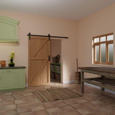 KLÜG Barn Strap Sliding Door Gear with Soft Open/Close - 2000mm - Black