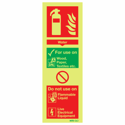 NITE-GLO Water Extinguisher - 280 x 90mm