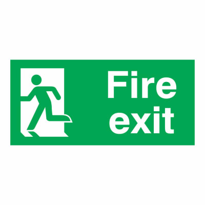 Fire Exit Man Left - 150 x 300mm - Rigid Plastic
