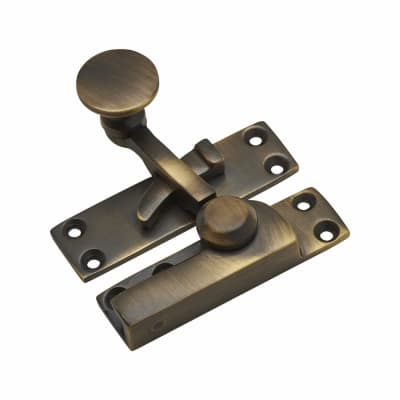 Quadrant Arm Sash Fastener - 72mm - Antique Brass