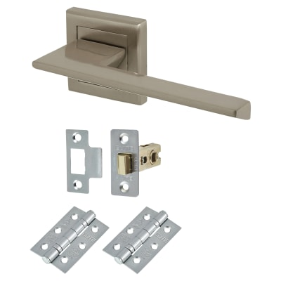 Elan Savona Lever Door Handle on Rose - Door Kit - Satin Nickel