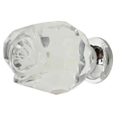 Aglio Rose Detail Glass Cabinet Knob - 37mm - Polished Chrome