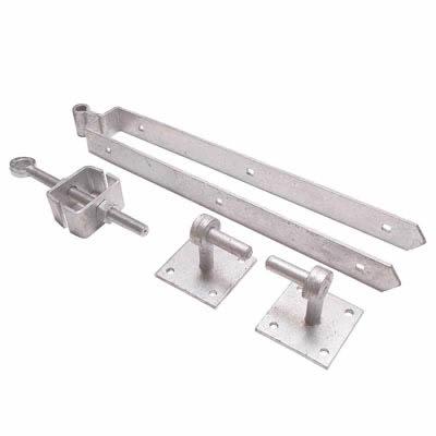 Adjustable Fieldgate Hinge Set On Plates - 300mm - Galvanised