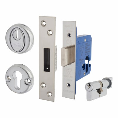 BS8621 Euro Deadlock & Cylinder Turn - Case 65mm - Backset 44mm - Polished Stainless -Square Forend
