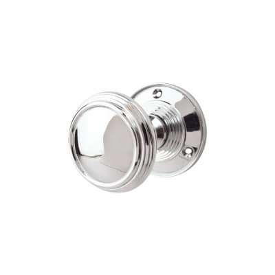 Lined Mortice Door Knob - Polished Chrome