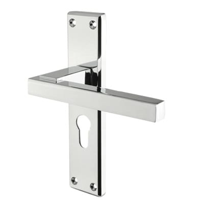 Carlisle Brass Stratus Door Handle - Euro Lock Set - Polished Chrome