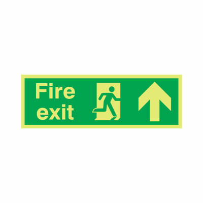 NITE-GLO Fire Exit Running Man - Arrow Up - 150 x 450mm