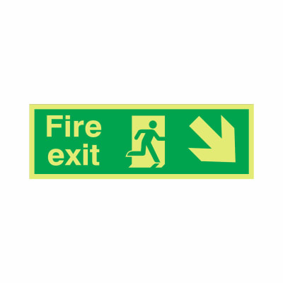 NITE-GLO Fire Exit Running Man - Arrow Down Right - 150 x 450mm