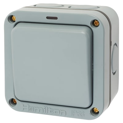 Hamilton Elemento 20A IP66 1 Gang 2 Way Outdoor Switch with Neon - Grey