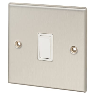 Contactum 10A 1 Gang 2 Way Light Switch - Brushed Steel with White Insert