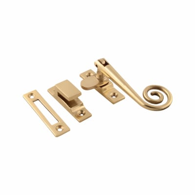 Hampstead Open Curl Hook & Plate Window Fastener - Polished Brass