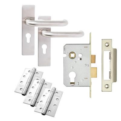 Lever on Backplate Door Kit - Euro Lock Set - Stainless Steel