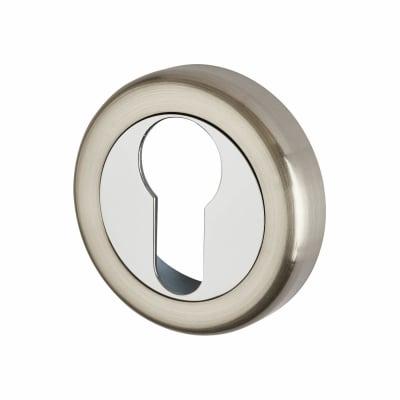 Morello Escutcheon - Euro - Satin Nickel/Polished Chrome