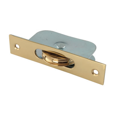 Square Axle Pulley - 44mm Curved Metal Wheel - Polished Brass Face Plate