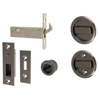 KLUG Round Flush Handle Set with Latch - Black Nickel