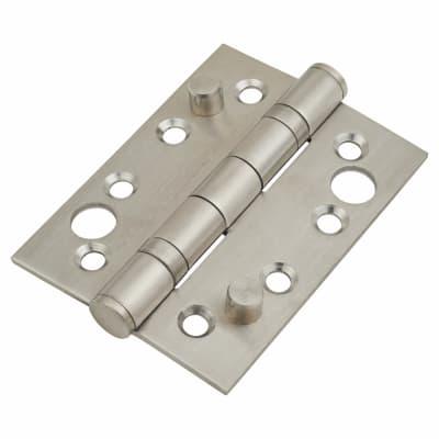 Security Ball Bearing Hinge - 102 x 76 x 3mm - Satin Stainless Steel - Pair