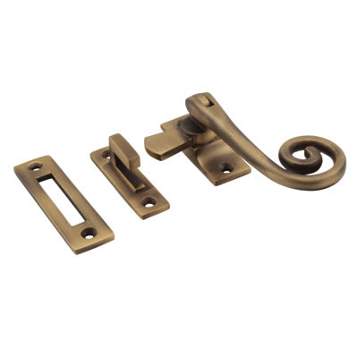 Cast Open Curl Casement Hook & Plate Fastener  - Antique Brass