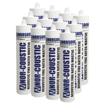 Norsound Acoustic Fire Rated Mastic - Trade Multi-pack - 310ml - White - Pack 12