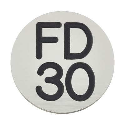 FD30 Door Sign Self Adhesive - 25mm - Silver