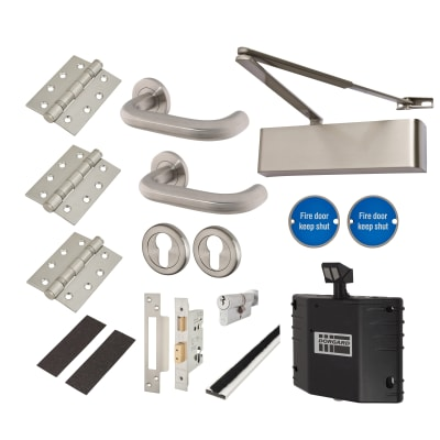 Heavy Duty Lever on Rose Fire Door Kit with Hold Open Device - Euro Sashlock - Stainless Steel