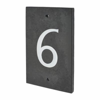 Slate Numeral - 6 - Polished Black