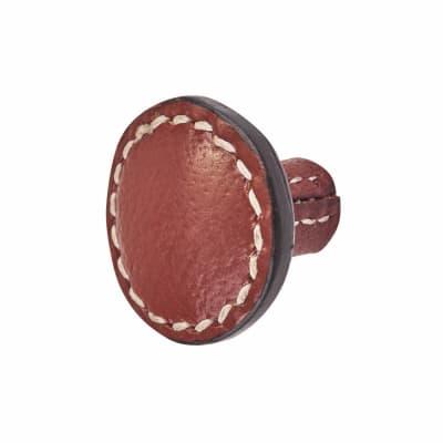 Round Leather Cabinet Knob - Plain - Stitched - Burgundy