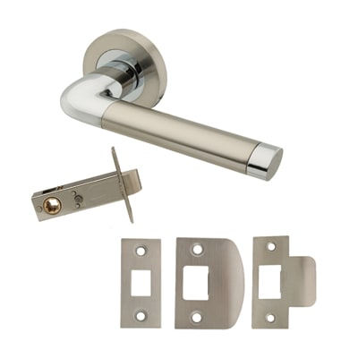 Excel Roma Lever Door Handle on Rose - Privacy Set - Satin Nickel/Polished Chrome