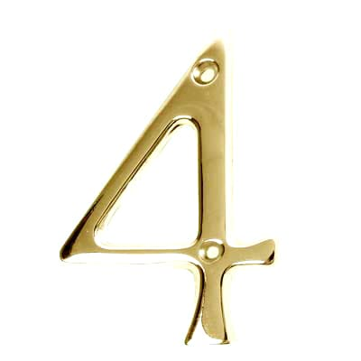 76mm Numeral - 4 - Stainless Brass PVD