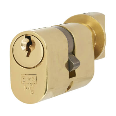 Eurospec MP5 - Oval Cylinder and Turn - 30[k] + 30mm - Polished Brass  - Keyed Alike