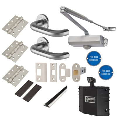 Light Duty Lever on Rose Fire Door Kit with Hold Open Device - Latch - Satin Stainless