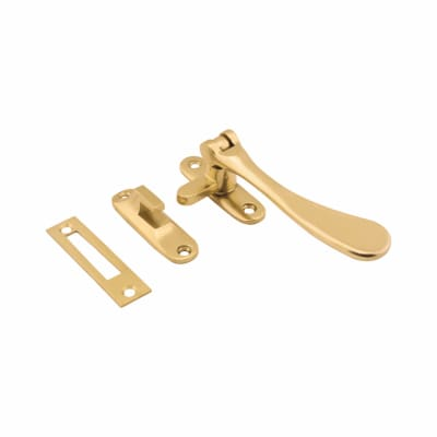 Budget Victorian Casement Hook and Plate Fastener - Polished Brass