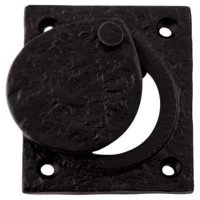 Elden Cylinder Latch Cover - 67 x 58mm - Antique Black Iron