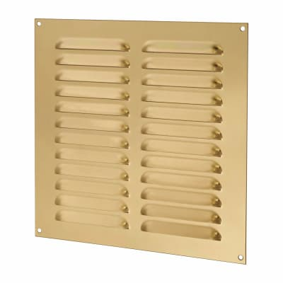Hooded Louvre Vent - 242 x 242mm - 11919mm2 Free Air Flow - Polished Brass