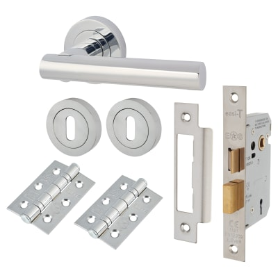 Touchpoint Bella Lever Door Handle on Rose Kit - 3 Lever Sashlock - Polished Chrome