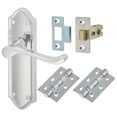 Aglio Ashmead Handle Door Kit - Latch Set - Polished Chrome