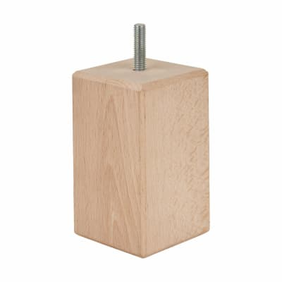 Wooden Furniture Leg - Square - 50 x 50 x 80mm - Raw Beech