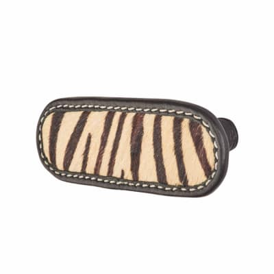 Rounded Leather Cabinet Handle - Stitched - Zebra Print