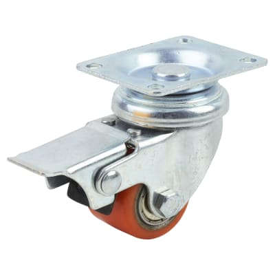 Coldene Super Low Level and High Load Castor - Swivel Braked - 120kg Maximum Weight - Red