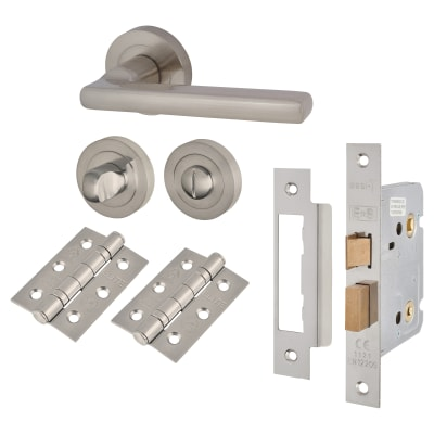 Touchpoint Sophia Lever Door Handle - Bathroom Lock Kit - Satin Nickel