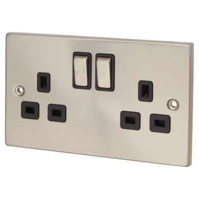 Click Scolmore 13A Ingot 2 Gang DP Switched Socket - Satin Chrome with Black Inserts