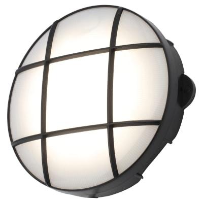 Forum Capella 15W LED Round Grid Bulkhead - IP65 - Black