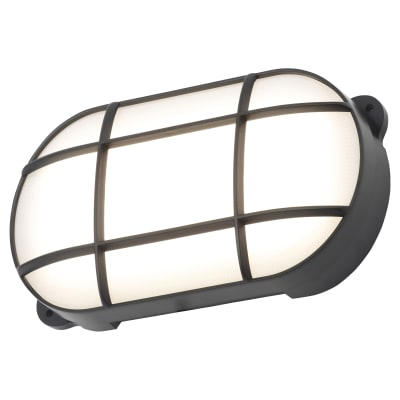 Forum Capella 15W LED Oval Grid Bulkhead - IP65 - Black