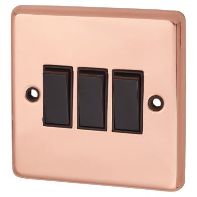 G&H Brassware 10A 3 Gang 2 Way Switch - Polished Copper