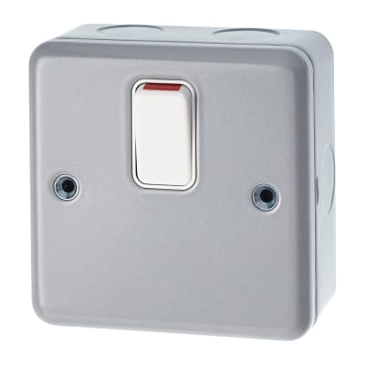 MK 20A 1 Gang Double Pole Metalclad Switch - Grey