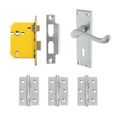 Aglio Victorian Scroll Handle Door Kit - Keyhole Lock Set - Satin Chrome